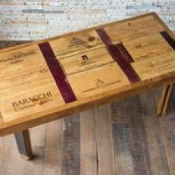 Wine Lover Coffee Table with Stave Legs, Crate and Wine Infused Top, Natural