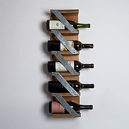 Modern Industrial Wall Wine Rack, 5 Bottle, Natural