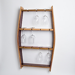 Red Wine Glass Rack, Natural Finish, 11 glass