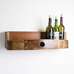 Wine Barrel Bottle Shelf, Natural Finish