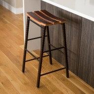 Barrel Stave Stool with Metal Base